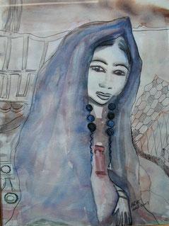 Femme béduine, aquarelle encre de Chine. D.Petit
