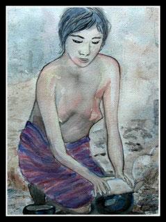 Jeune femme au travail, aquarelle .D.Petit