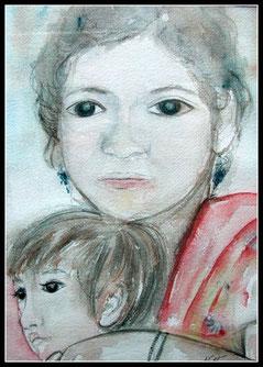 La mère et l'enfant, aquarelle.D.Petit