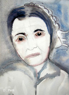 Bretonne, aquarelle.D.Petit