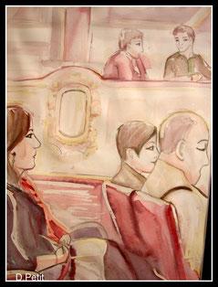 Le spectacle, aquarelle.D.Petit