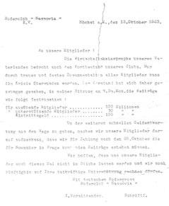 Mitteilung an die Mitglieder vom 13. Oktober 1923