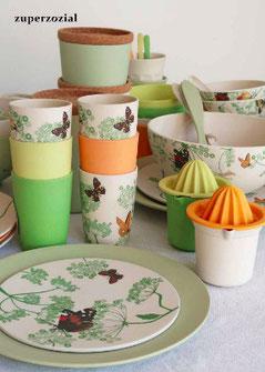 Vaisselle en bambou et maïs, version martelée, couleur kaki