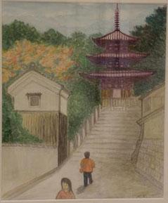 当麻寺(西塔) 8号油彩