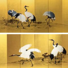 Mochizuki Gyokkei (1874-1939) | Pair of six-panel painted screens with Cranes