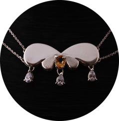 Bijoux prestige Collier Noeud de Sévigné, Argent, Citrine et zirconium