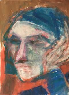 Frau - in Gedanken, Acryl auf Papier, 2017