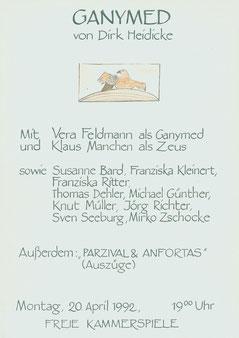 """Plakat von 1992, Lesung """"Ganymed"""", Kammerspiele Magdeburg, Kult e.V."""