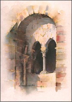 Aquarelle du réfectoire des moines de Montsalvy par Jean Lacalmontie