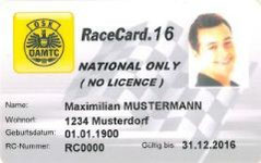 Muster einer Race Card