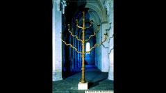 Klosterneuburg siebenarmige Leuchter Menorah. Bronze Menora, Austria