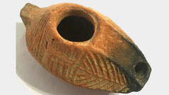 Ancient Menorah. Ancient Holy land clay with menorah, 100 BC - 200 AD