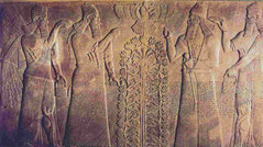 Assyrian tree of Life Menorah Assur sccred tree and the king, above is the winged sun-disk of Egypt