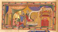 Latin Gumbertus Bible  menorah, Gumbertusbibel menora, 12th century medieval bible