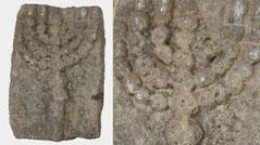 Ancient Judaic carved stone slab with menorah
