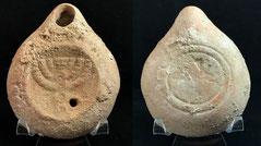 Early Terracotta oil lamp menorah Roman period