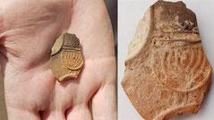Menorah Beer Sheva, Fragment of an oil lamp with menorah from Israel, 1 century