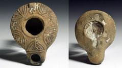 Ancient Terracotta mold formed oil lamp with menorahs on top, 1st century BC AD