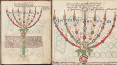 Medieval seven branches candlestick Menorah with flowers in Biblia, 11th century