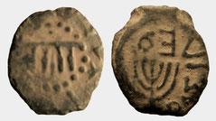 Menorah coin Mattatayah Antigonus prutah struck 40-37 BCE BC