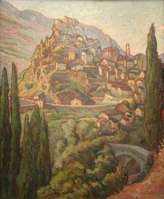 Corte, Corse huile sur bois 56x46 André Aaron Blils