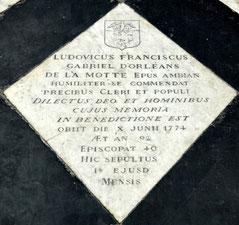 Epitaphe de Mgr de la Motte