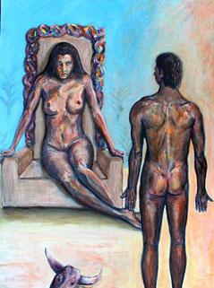 Minos vor dem Thron der Koenigin Pasiphae - maennlicher und weiblicher Akt