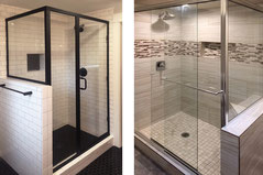 Two shower pictures, one has white subway tile and black framed glass doors, the other has gray stone tiles and frameless glass doors.