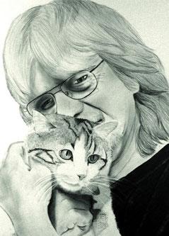Bleistiftzeichnung Person und Tier als Paarzeichnung - mein haustier und ich als paarzeichnung- Kunst meiner Seele