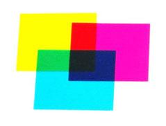 mélange de couleurs avec des filtres colorés jaune cyan magenta