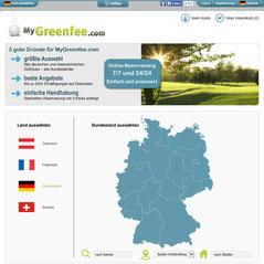 Screenshot MyGreenfee Startseite - © Albatros Datenservice GmbH