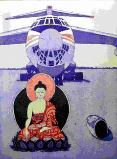 Kleiner Buddha vor Riesenflugzeug