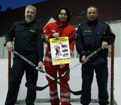 V.l.n.r.: Feuerwehr Krems-Peter Krenos; Rotes Kreuz Krems-Jürgen Pfeiffer; Polizei Krems-Peter Haiminger. Foto: FF Krems