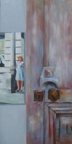 1. Hommage à Mr. Hopper  Acrylique sur toile  60 x 30 cm.  2016