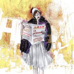 illustration de violaine kruch, femme des années folles lisant un journal