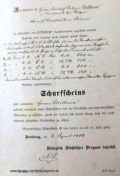 Schurfschein für Fr. Mildner
