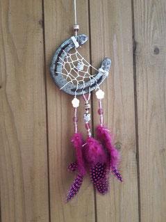 Glücksfänger - Traumfänger aus Hufeisen in Pink gehalten