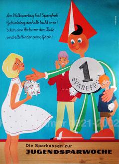 Sparefroh begrüßt Kinder mit Ihren Spardosen in der Sparkasse am Weltspartag (vermutlich 1960). Plakat von Heinz Traimer.