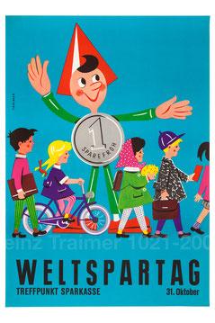 Sparefroh am Weltspartag. Sparefroh zeigt jungen Sparern den Weg zur Sparkasse. Plakat von Heinz Traimer nach 1960.