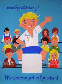 Schulsparen Klassensparen Sparefroh in der Schule.  Plakat von Heinz Traimer um 1960.