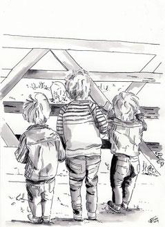 Drie broertjes in gewassen inkt