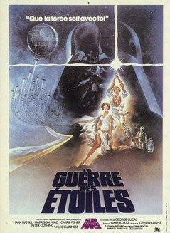"""Affiche du filme """"La guerre des Etoiles"""" de G. Lucas, 1977 (DR)."""