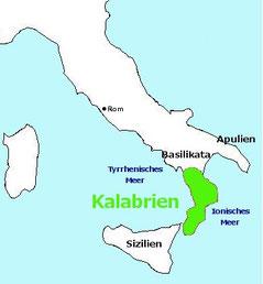 Karte: Lage Kalabriens in Italien - Stiefelspitze