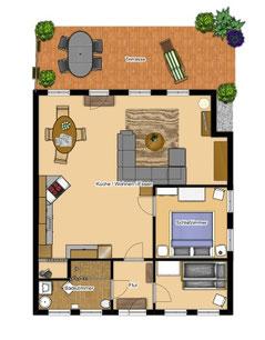 Grundriss Ferienwohnung Erdgeschoss