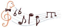 Zeichnung eines Notenschlüssels mit Gesicht und schwarzer Fliege auf der linken Seite. Daraus entspringen ein Doppel-b und verschiedene Noten.