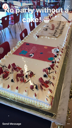 On 15 February 2002, Brussels Airlines launched its first flight. Now celebrating its 15th anniversary , the management served the staff a huge cake -  company courtesy