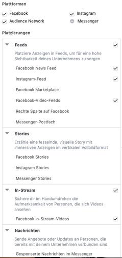 Mögliche Platzierung Facebook Ads