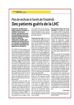 lmc france quotidien du medecin lmc cml cancer leucemie leukemia symptome maladie guerison