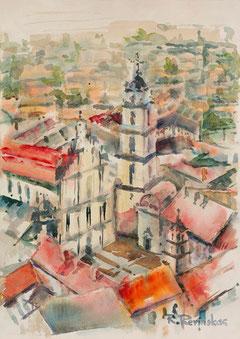 Autorius Rimas Revinskas. Vilniaus universitetas. Akvarelė 30x40cm. / Author Rimas Revinskas. Vilnius University. Watercolor 30x40cm