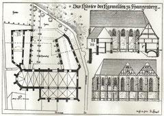 Rekonstruktionszeichnung des Karmeliterklosters